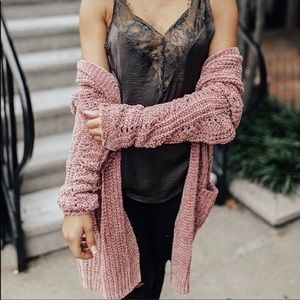 Sweaters - Oversized Boyfriend Cardigan Chenille Sweater